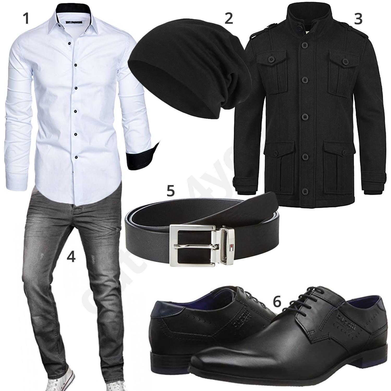 schwarzes herrenoutfit mit wei em hemd und grauer jeans lebensraum pinterest outfit. Black Bedroom Furniture Sets. Home Design Ideas
