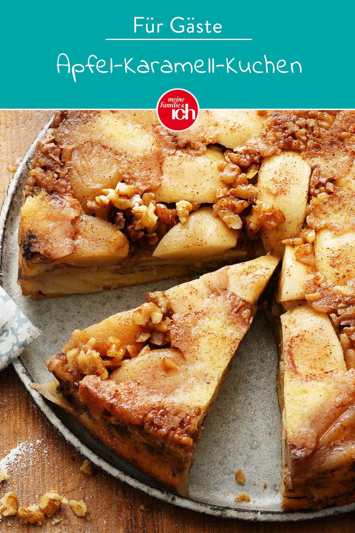 Apfel-Karamell-Kuchen - lecker mit Walnüssen