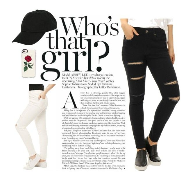 """""""Allegra K Women's Mid-Rise Stretchy Ripped Front Skinny Jeans"""" by allegrakcloset ❤ liked on Polyvore featuring Allegra K, Hot Topic and Casetify"""