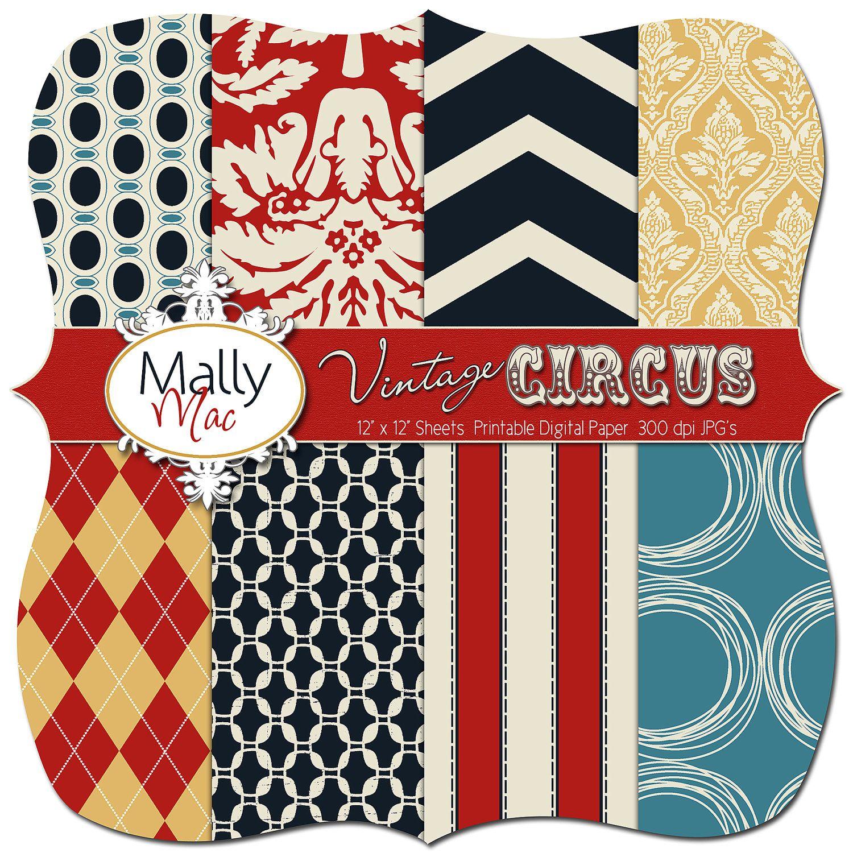 Vintage CIRCUS Digital Paper Set Pack 12\