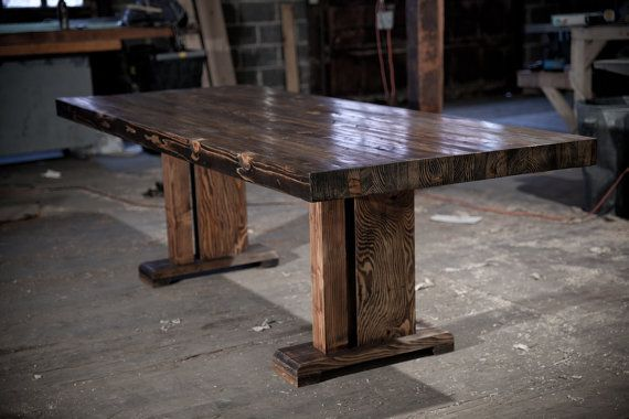 butcher block table | solid wood farmhouse dining table