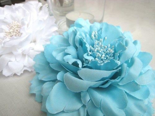 Romantic Large Aqua Blue Peony Hair Clip.Bridesmaids Flower Hair Piece #bluepeonies