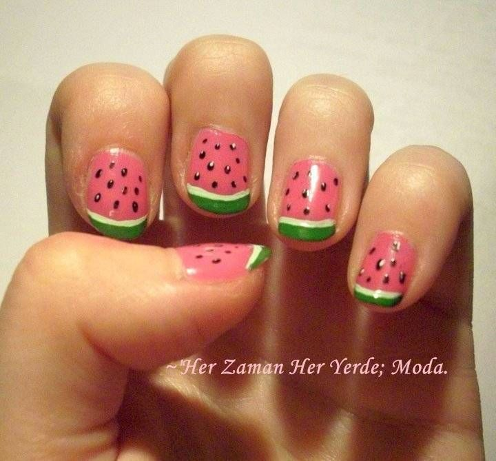 Cute & Easy Nail Art Design Ideas you should do this for the summer! - Watermelon #nailart My Style Pinboard Pinterest Watermelon
