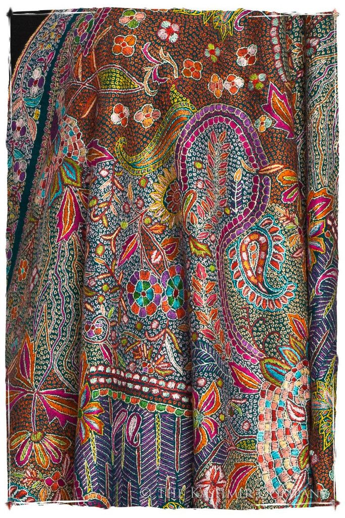 78821a5426d A beautiful patterned pashmina shawl featuring an intricate multi-colored  embroidery. Hand-made in Kashmir