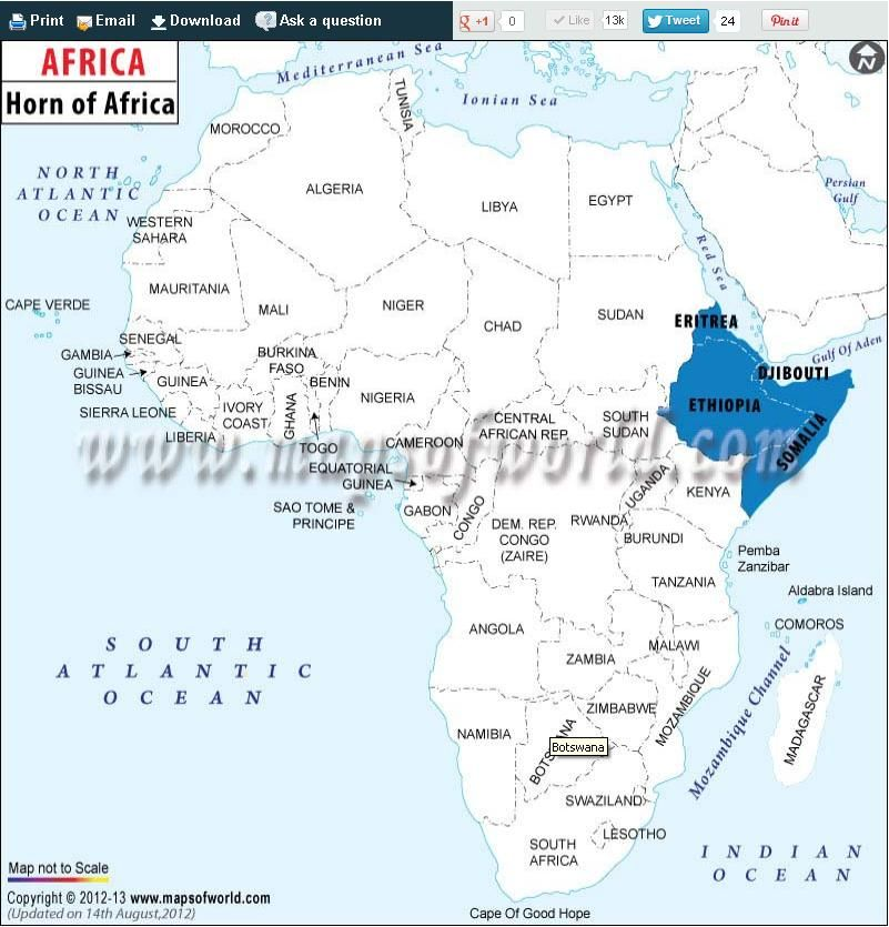 Map showing the location of Horn of #Africa countries like Eritrea