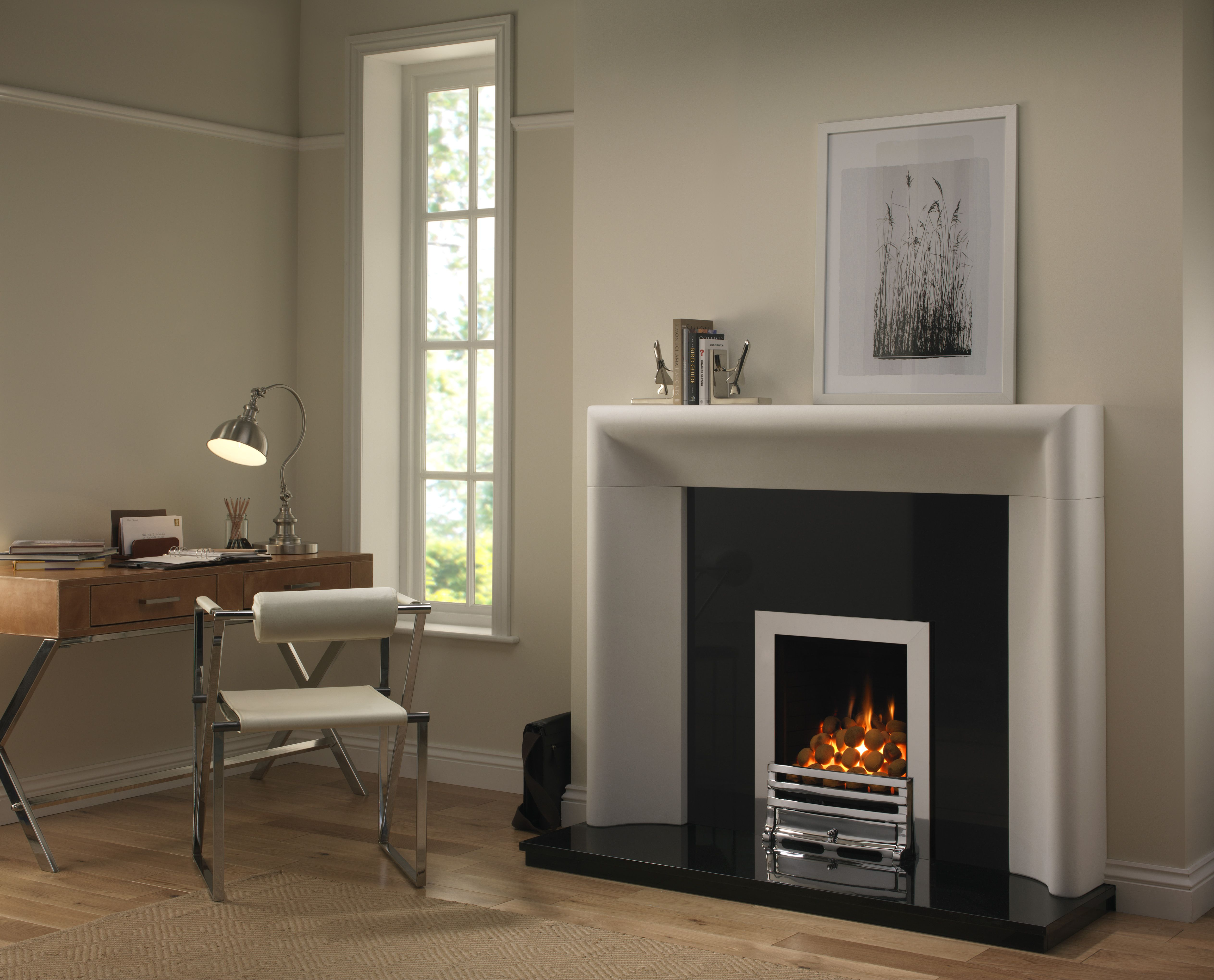 Whatley Full Depth Gas Fire with Grove Chrome Fret (With
