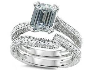 Emerald Cut White Topaz Diamond Engagement Ring Wedding Set A