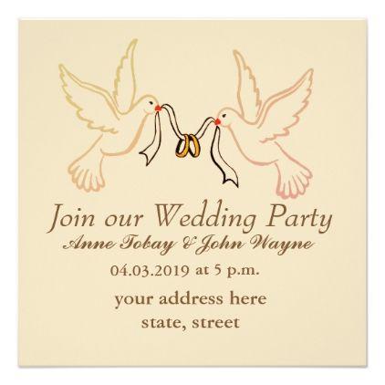 Elegant Wedding Party Invitation With Doves
