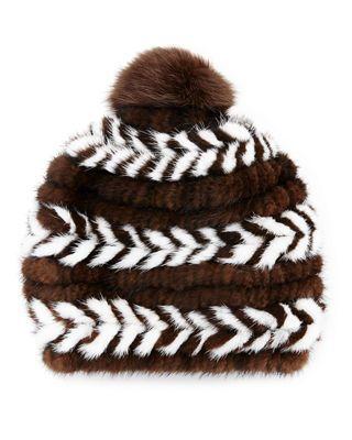 f2c4fcdeab042 Surell Mink Fur Beanie Hat