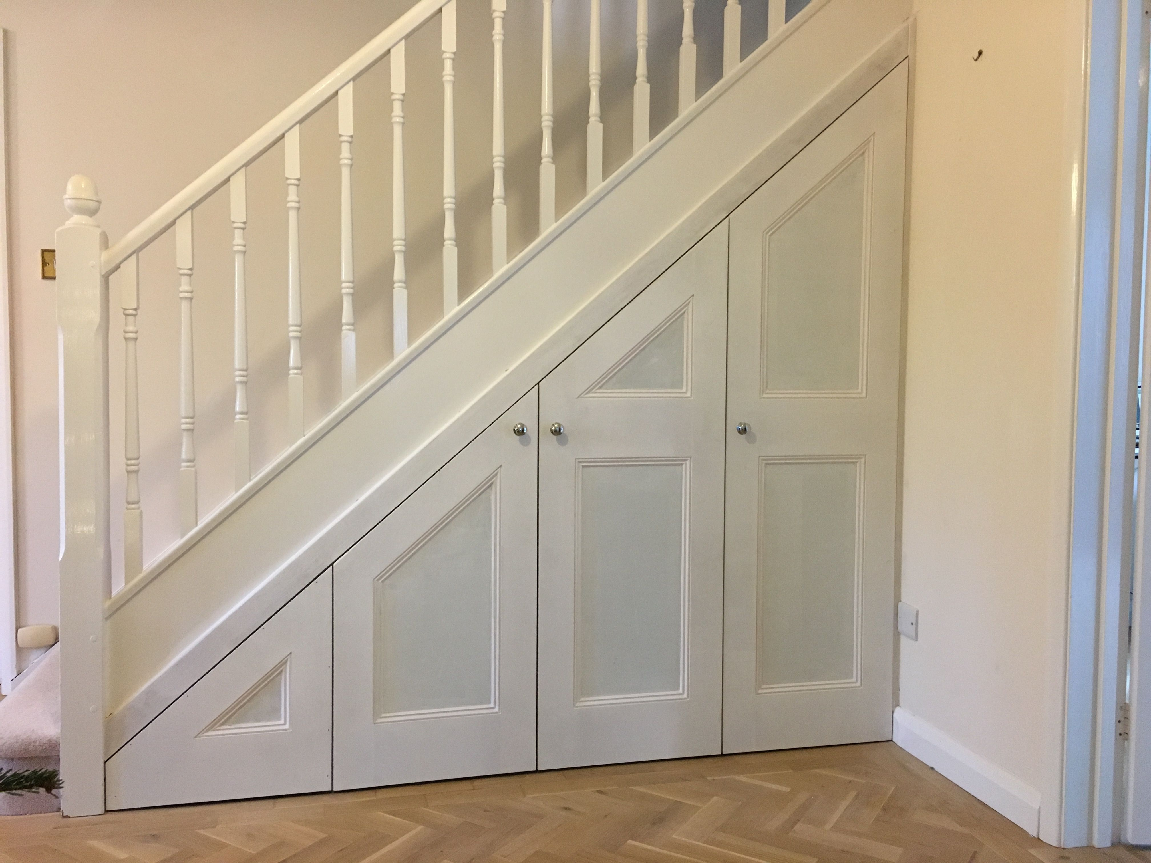 Under stair storage shaker style doors with beading for Door under stairs