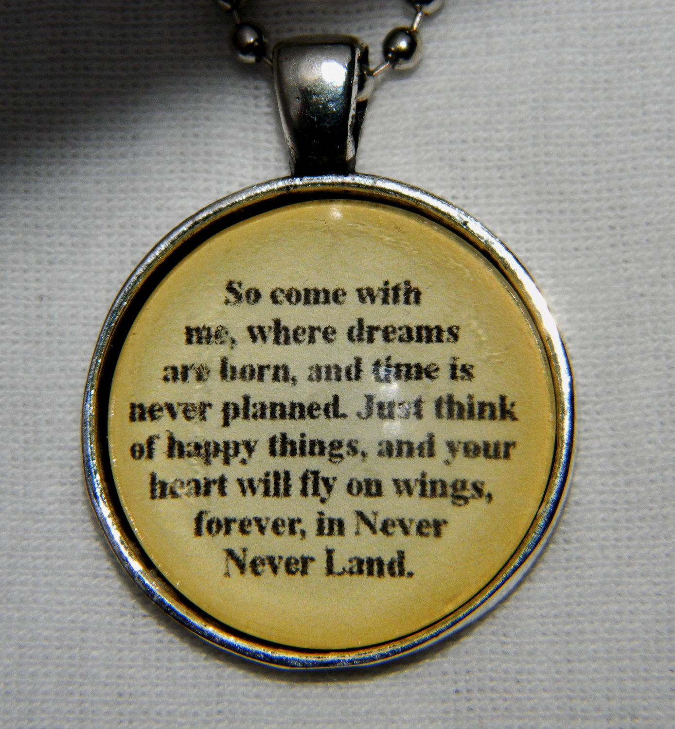 Peter Pan Quote Necklace So Come With Me By Evangelinascloset