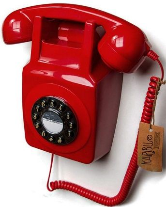 GPO - 746 Retro Wall Phones - RED - Black/Red/Natural #wallphone