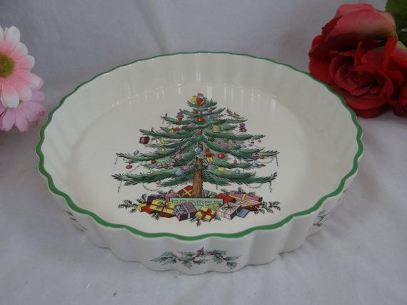 Spode Made in England Christmas Tree Large Quiche Pie Torte Dish
