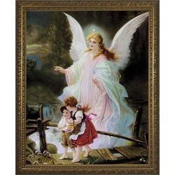 Guardian Angel On The Perilous Bridge W Gold Frame Love It
