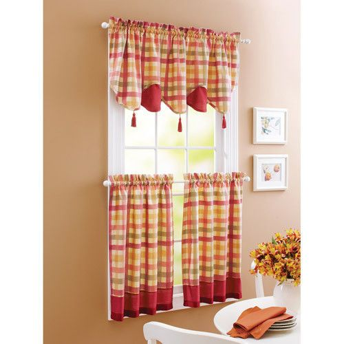 Red Green Yellow Tan COUNTRY PLAID Kitchen Curtains VALANCE OR ...
