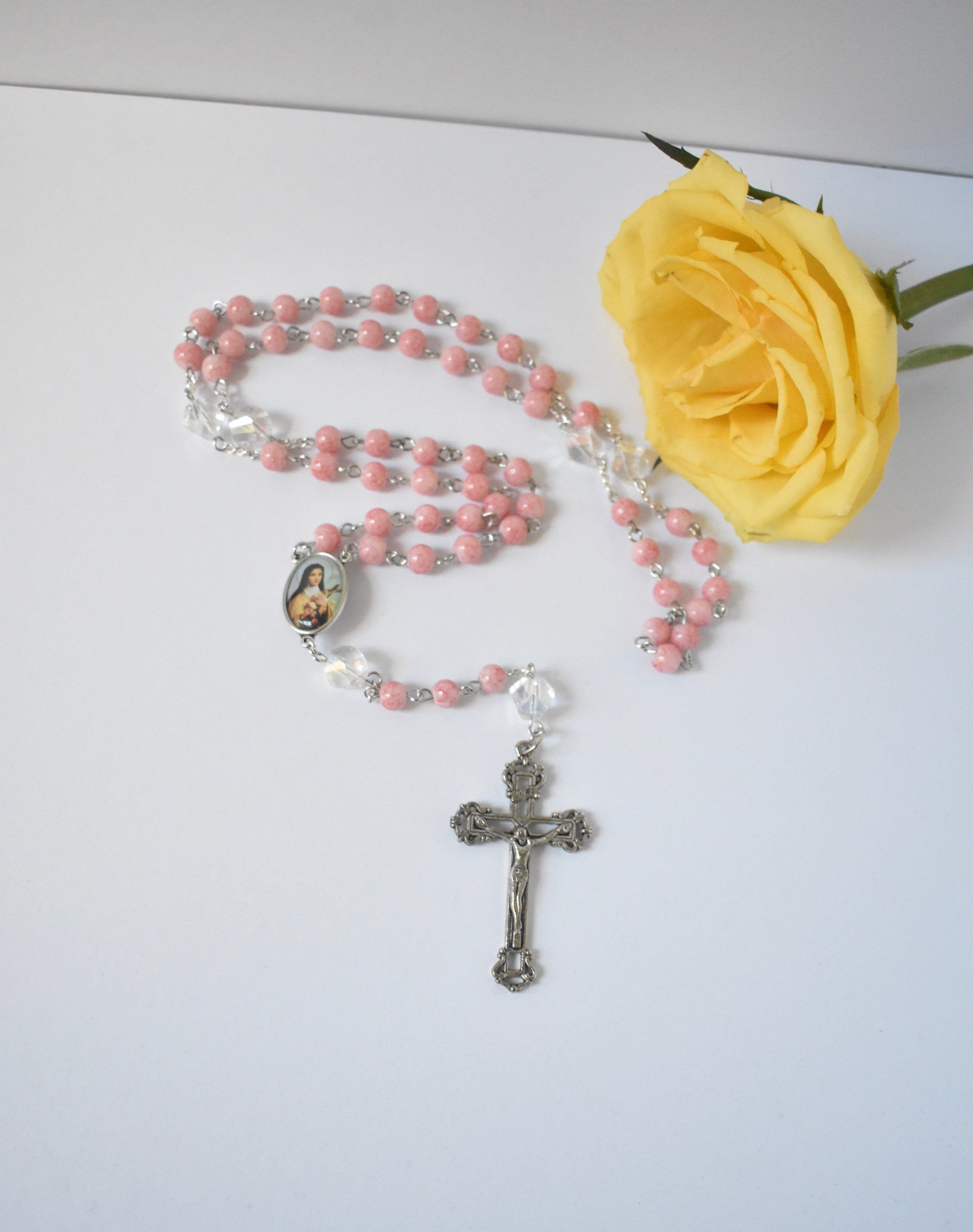 Catholic Saint Therese Pink Rosary (With images