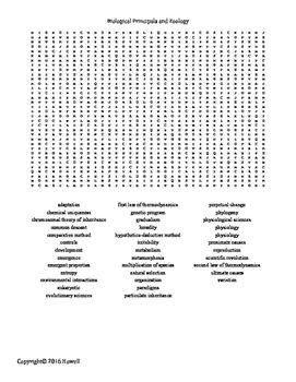 Biological Principles and Zoology Vocabulary Word Search for ...