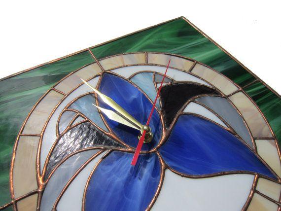 Retro Flower Stained Glass Wall Clock blue green by ZangerGlass, $90.00