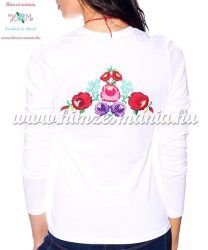 b64756f499 Ladies long sleeve T-shirt - hungarian folk hand embroidered - Kalocsa  style - white