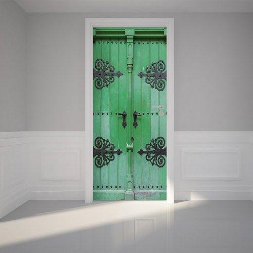 Door Wall Sticker Ancient Green Door Self Adhesive Matt Fabric Mural Green Door Door Wall Door Murals