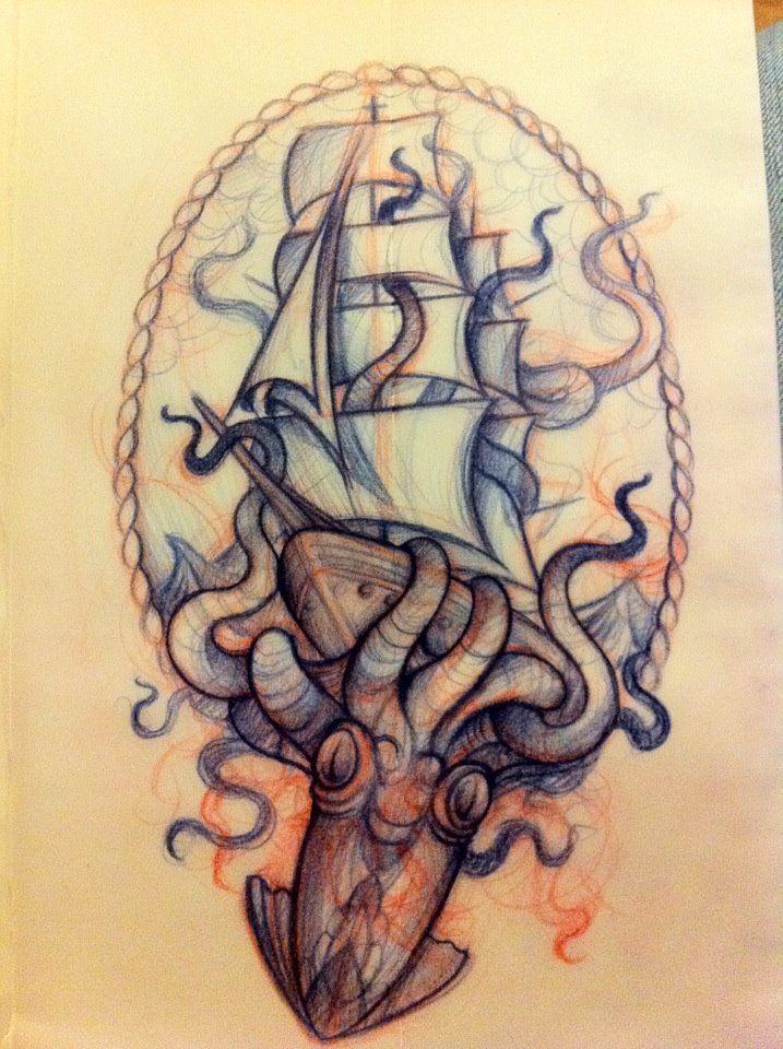 Mitch Allenden Kraken Tattoo Octopus Tattoos Ship Tattoo