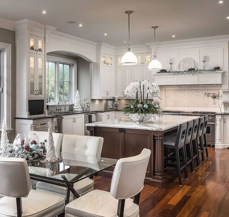 Beautiful kitchen with some christmas touches also this is just elegant and not sure  want to go completely rh pinterest