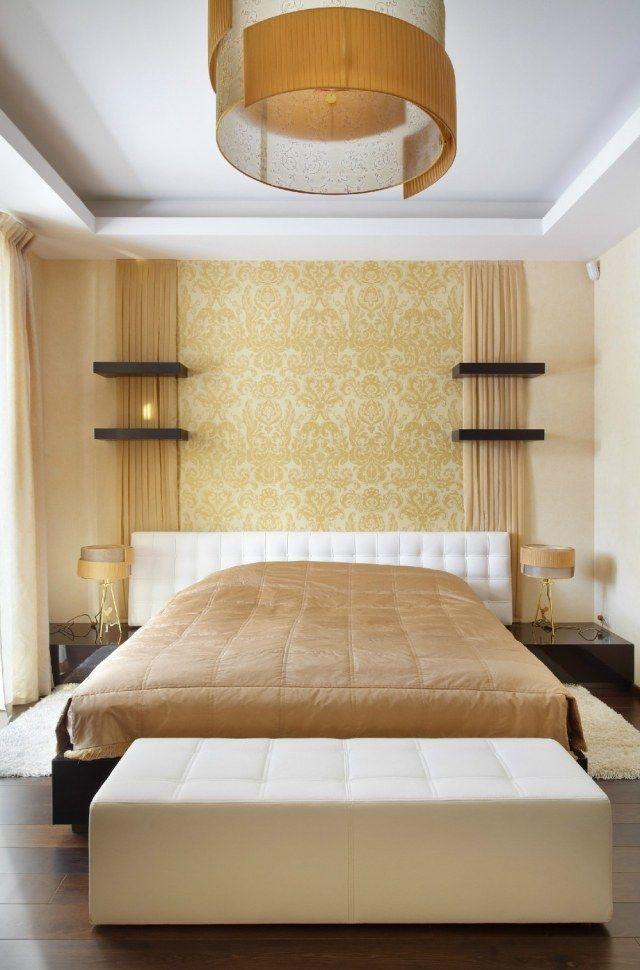 schlafzimmer wand dekorieren tapete goldene arabesk motive - schlafzimmer dekorieren wand