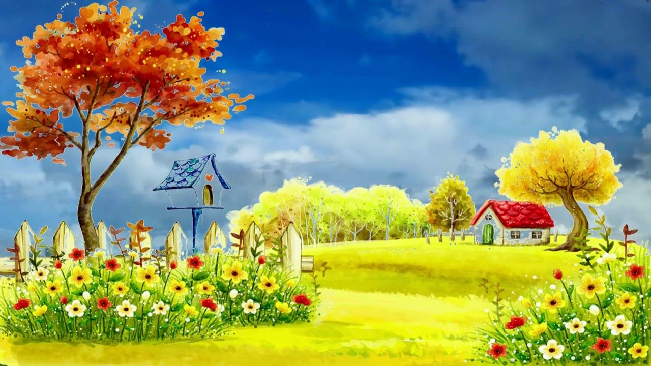 Beautiful 3D Animation with Nature Autumn Village, 3D Background
