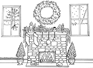 Coloring Pages Doodle Draw Art Diy Christmas Fireplace Christmas Fireplace Fireplace Drawing