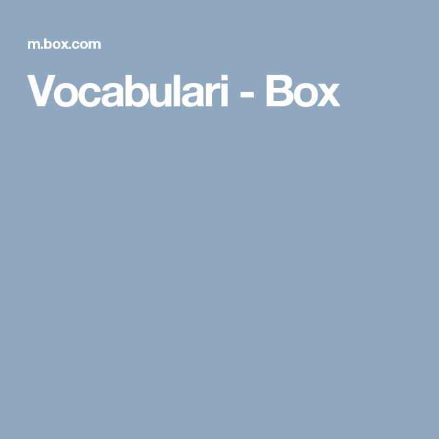 Vocabulari - Box
