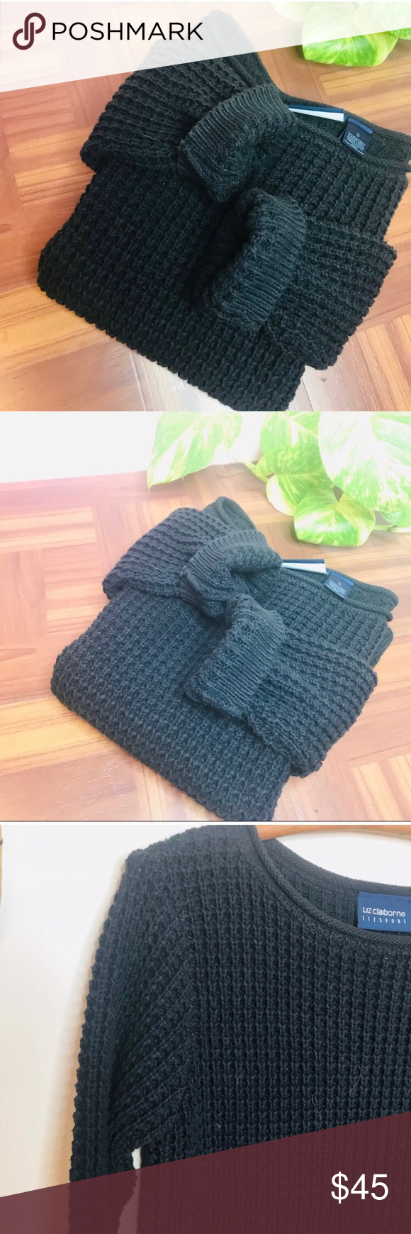 vtg vsco Crop Waffle Knit Black Boat Neck Sweater ViTG Crop Waffle Knit Black Boat Neck Sweater • Tags say small but would fit an XS nicely  Vsco bo...