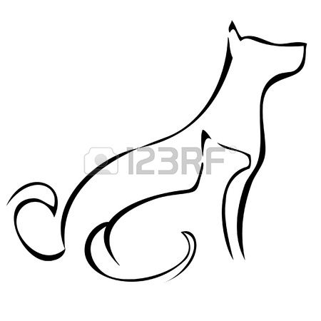 silhouettes logo stock vector cat and dogs vector. Black Bedroom Furniture Sets. Home Design Ideas