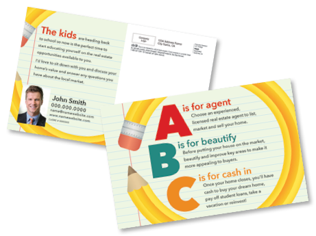 Abc S Of Real Estate Great For Back To School Season This Postcard Highlights Three Real Estate Marketing Postcards Real Estate Postcards Marketing Postcard