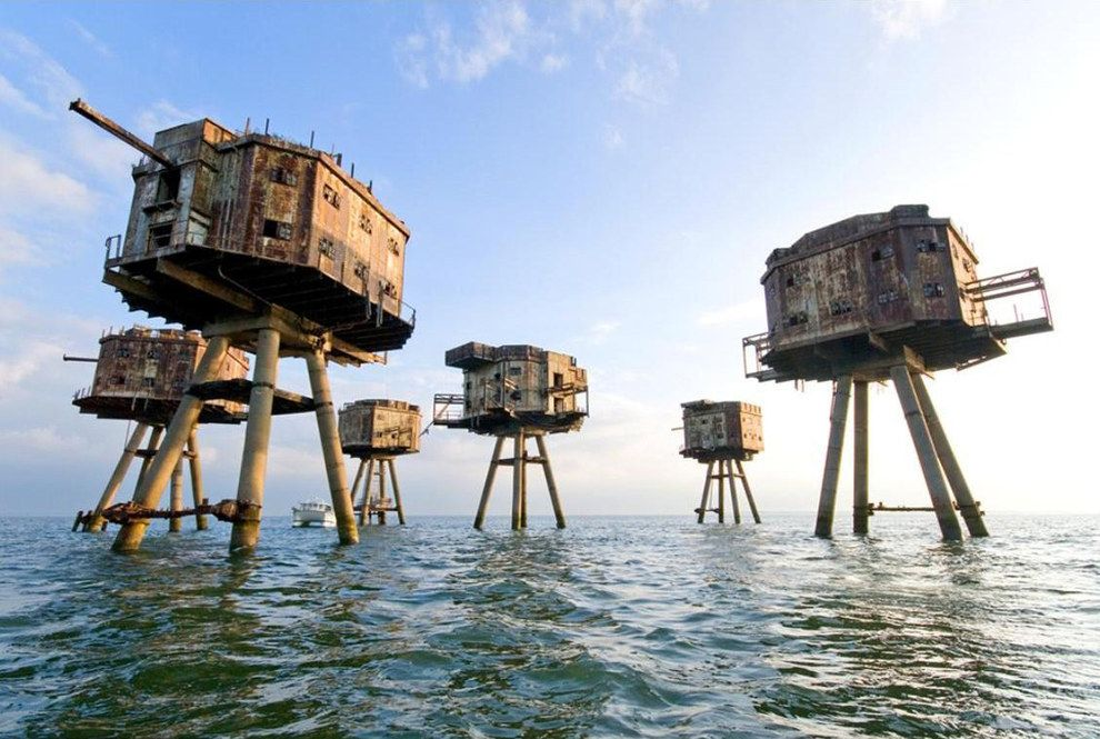 """Maunsell Forts , Thames Estuary.  Were these abandoned building the inspiration for the walkers in the movie """"The Empire Strikes Back?"""""""