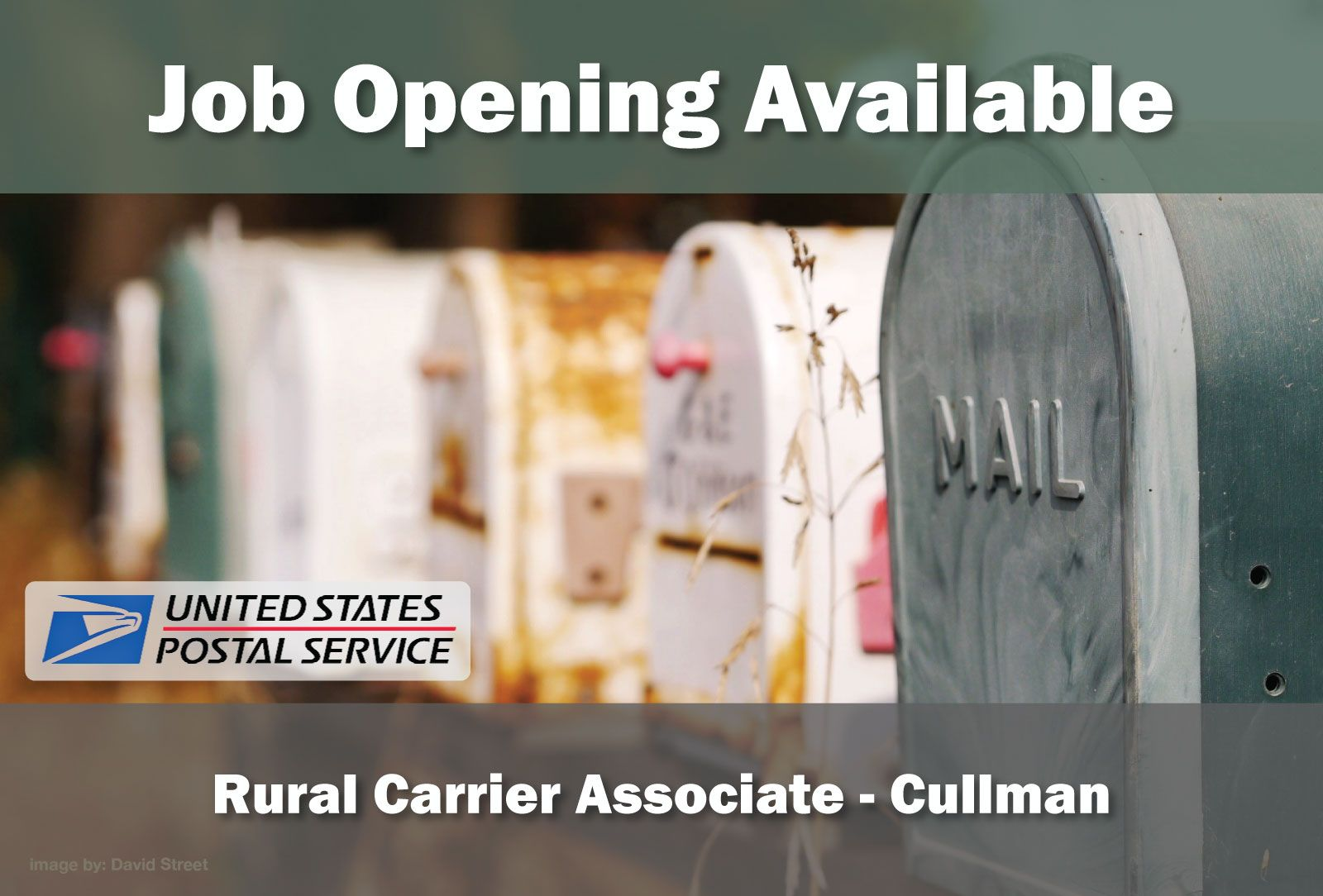 JOB OPENING AVAILABLE United State Post Office Rural