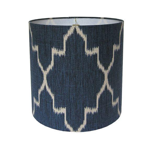 Custom Lamp Shade Ikat Lampshade Fabric Lamp Shades Navy Lamp