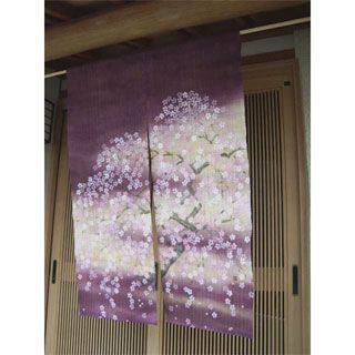 JAPANESE NOREEN   SAKURA   Cherry Blossom Hand Painted Japanese Noren  Curtain, Mauve