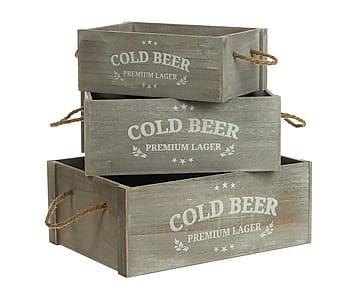 Set de 3 cajas en madera de pino Cold - gris