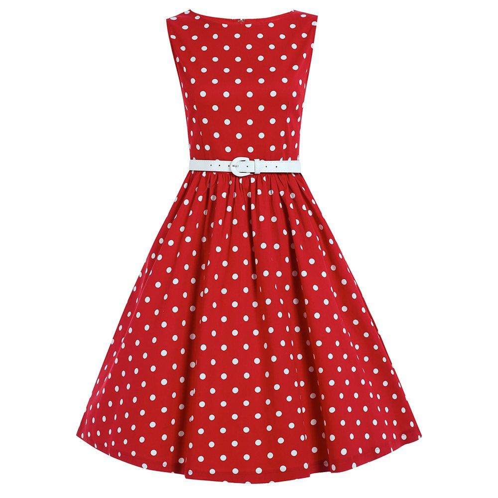 Audrey Red Polka Dot Swing Dress Vintage Inspired Dresses Lindy Bop