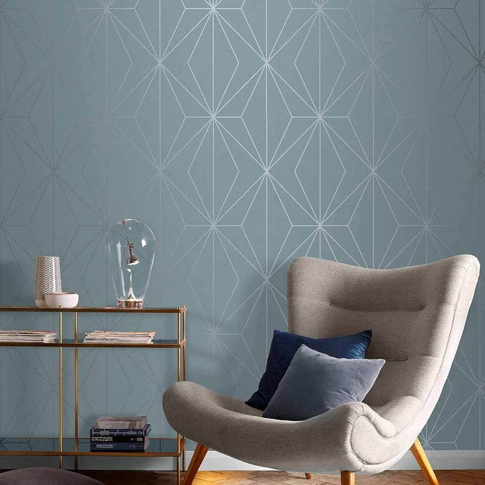Harmony Wallpaper In Deep Sky From The Exclusives Collection By Graham Blue Wallpaper Living Room Wallpaper Living Room Feature Wall Bedroom Living room accent wallpaper