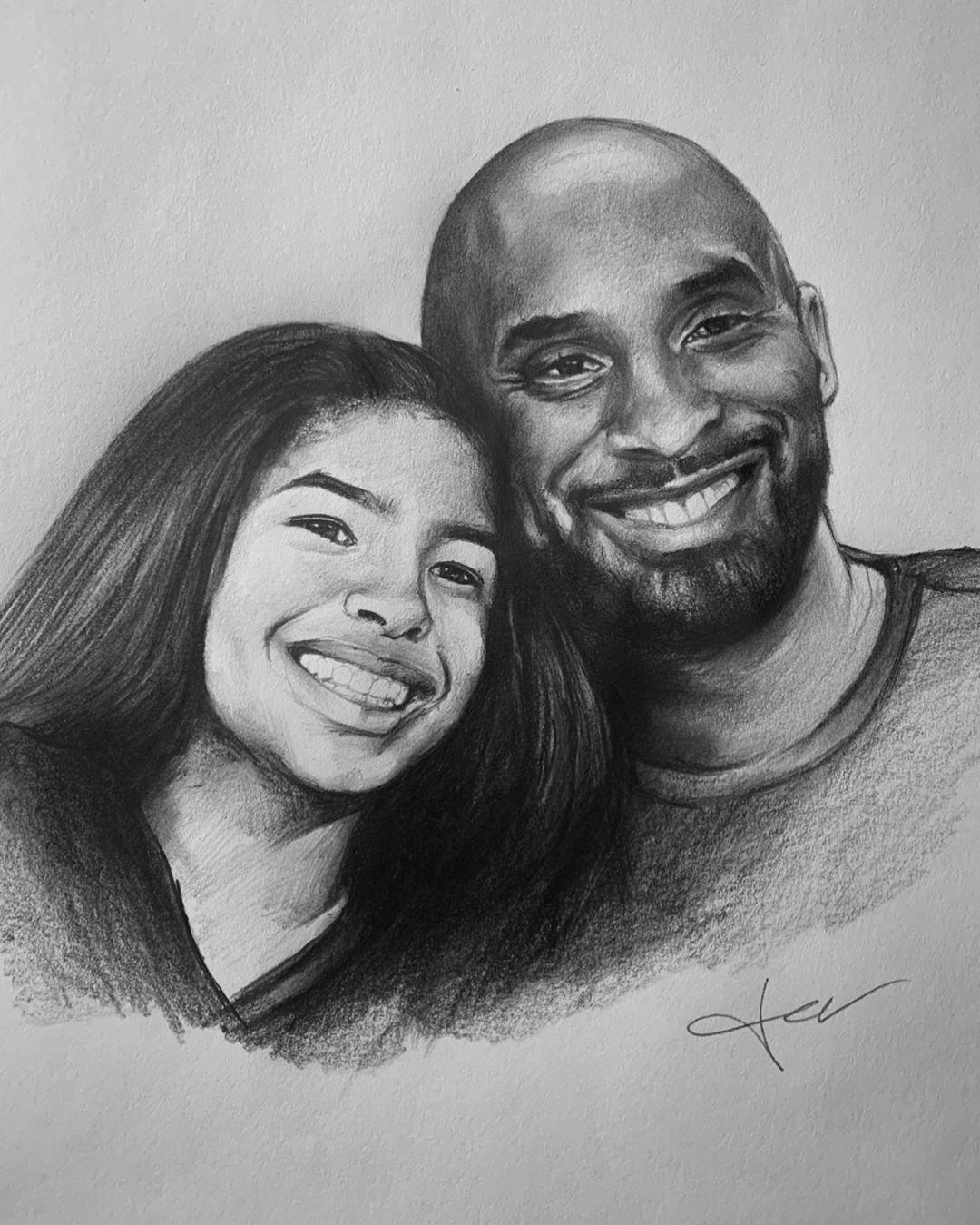 Kobe And Gigi Drawing : drawing, Felilicito, Bryant, Kobe,
