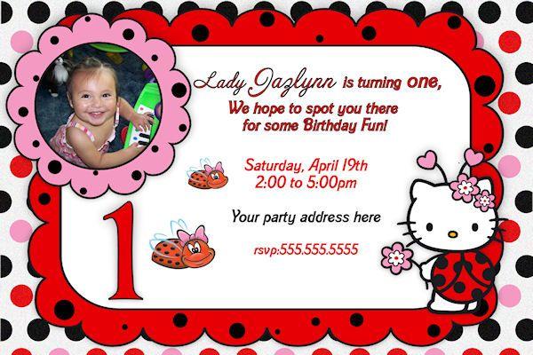 Hello Kitty Lady bug Invitation Printable Hello Kitty Lady bug – Hello Kitty Birthday Invitation