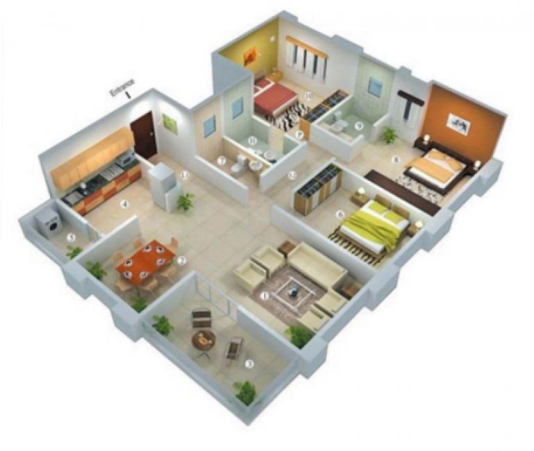 rumah 8x10 3 kamar tidur