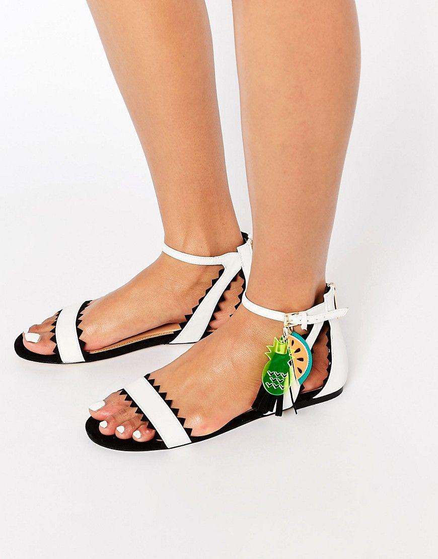 f4c9a7f9d14 Black   White Fruit Charm Flat Sandals Best Flats