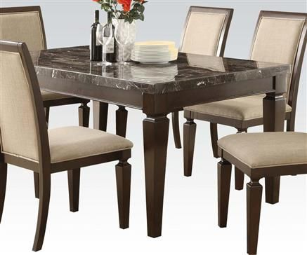 Agatha Wood Black Marble Top Dining Table Dining Table Marble
