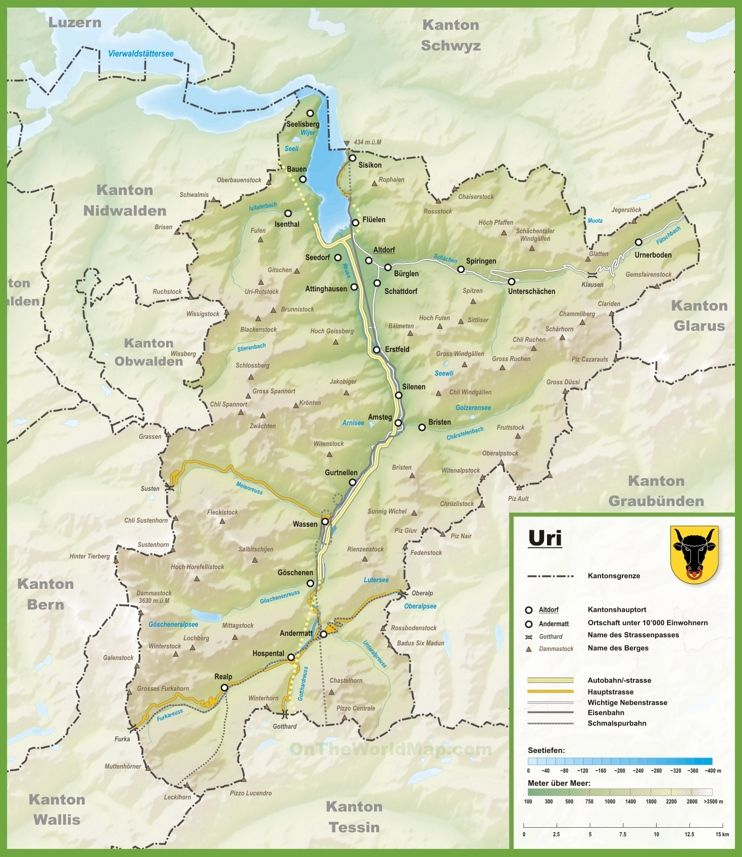 Canton of Uri map with cities and towns Maps Pinterest