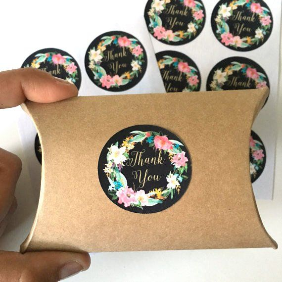 12 Thank You Stickers Floral Thank You Label Wedding Favor