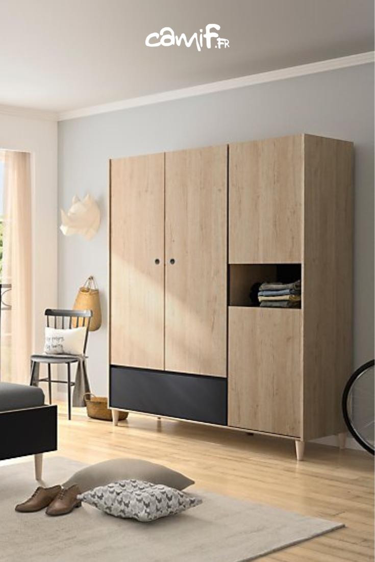 Armoire De Chambre Avec Penderie armoire avec penderie et étagère en bois (avec images