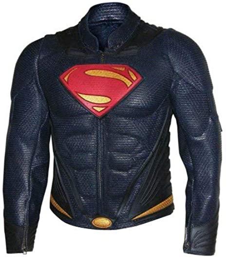 Men Superhero Genuine Leather Biker Jacket (Large) Blue at