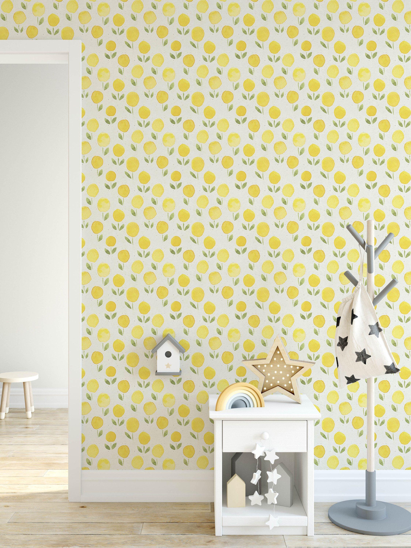 Yellow Marigold Watercolor Removable Wallpaper, Self Adhesive ...